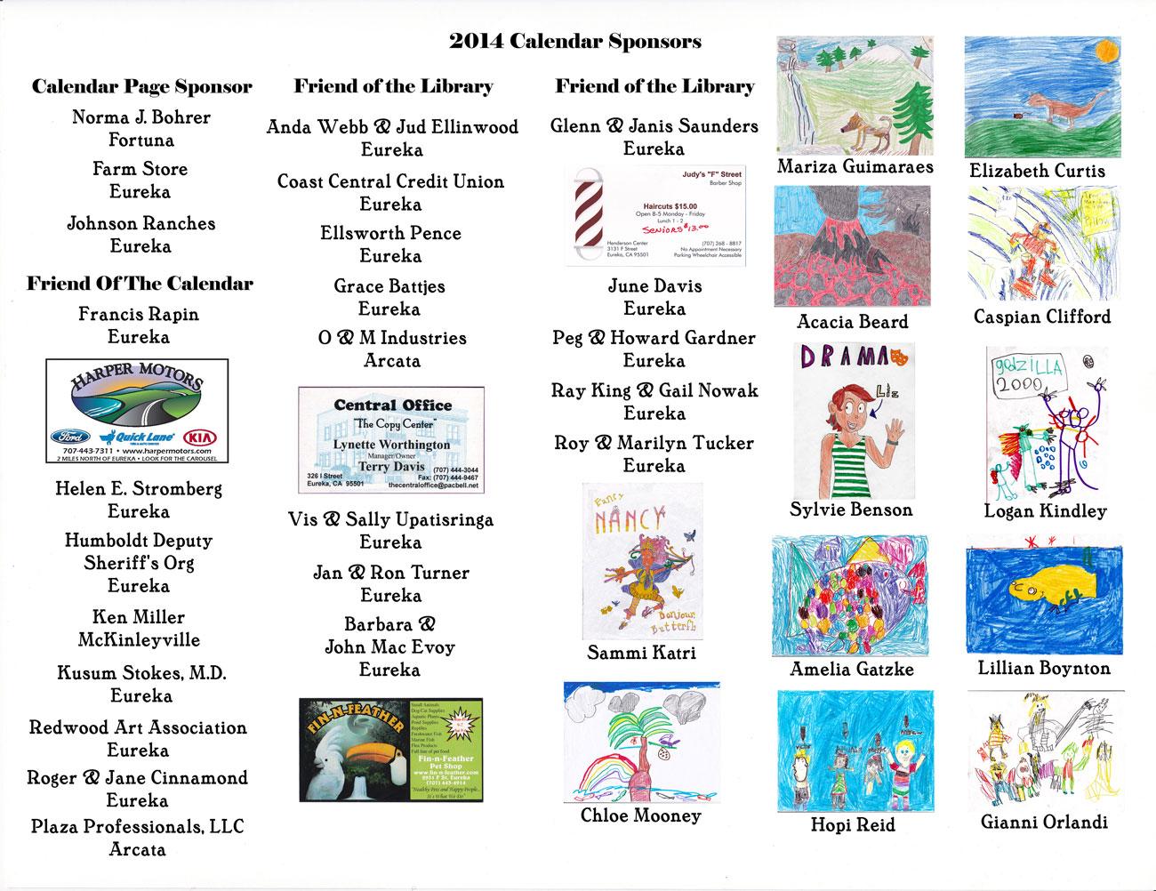 2014 Art Calendar Sponsors