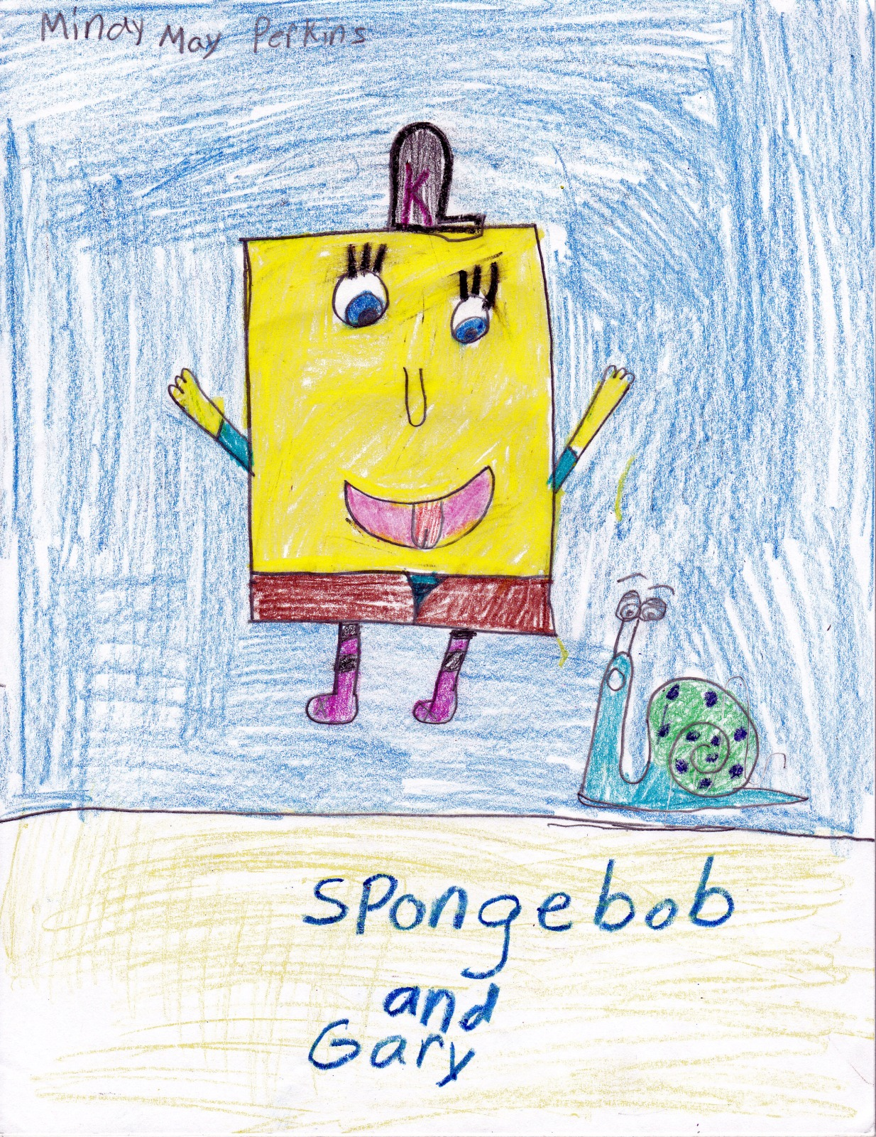 Spongebob Squarepants & Gary, artwork by Mindy May Perkins
