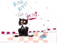 Bad Kitty Gets A Bath, artwork by Zandrea Thompson