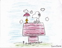 Snoopy and Woodstock, artwork by Emma Fechner