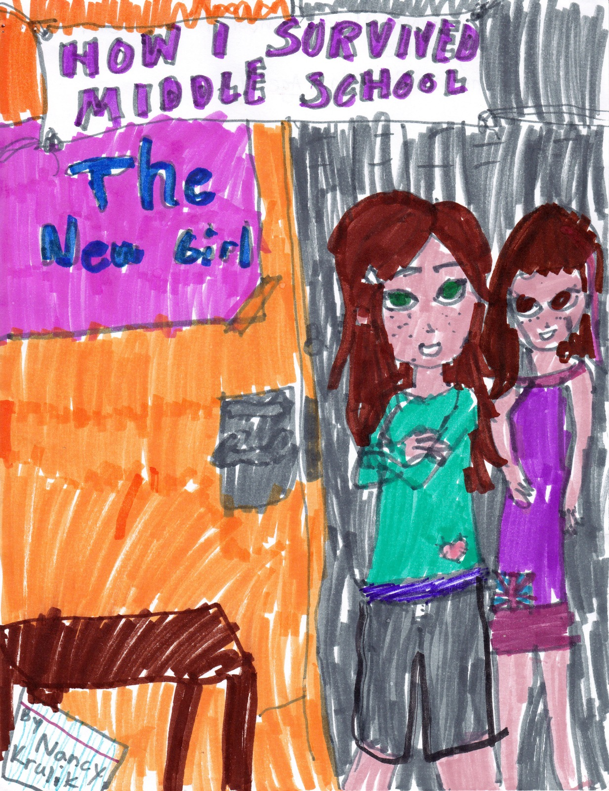 The New Girl: How I Survived Middle School, artwork by Katherine Cornish
