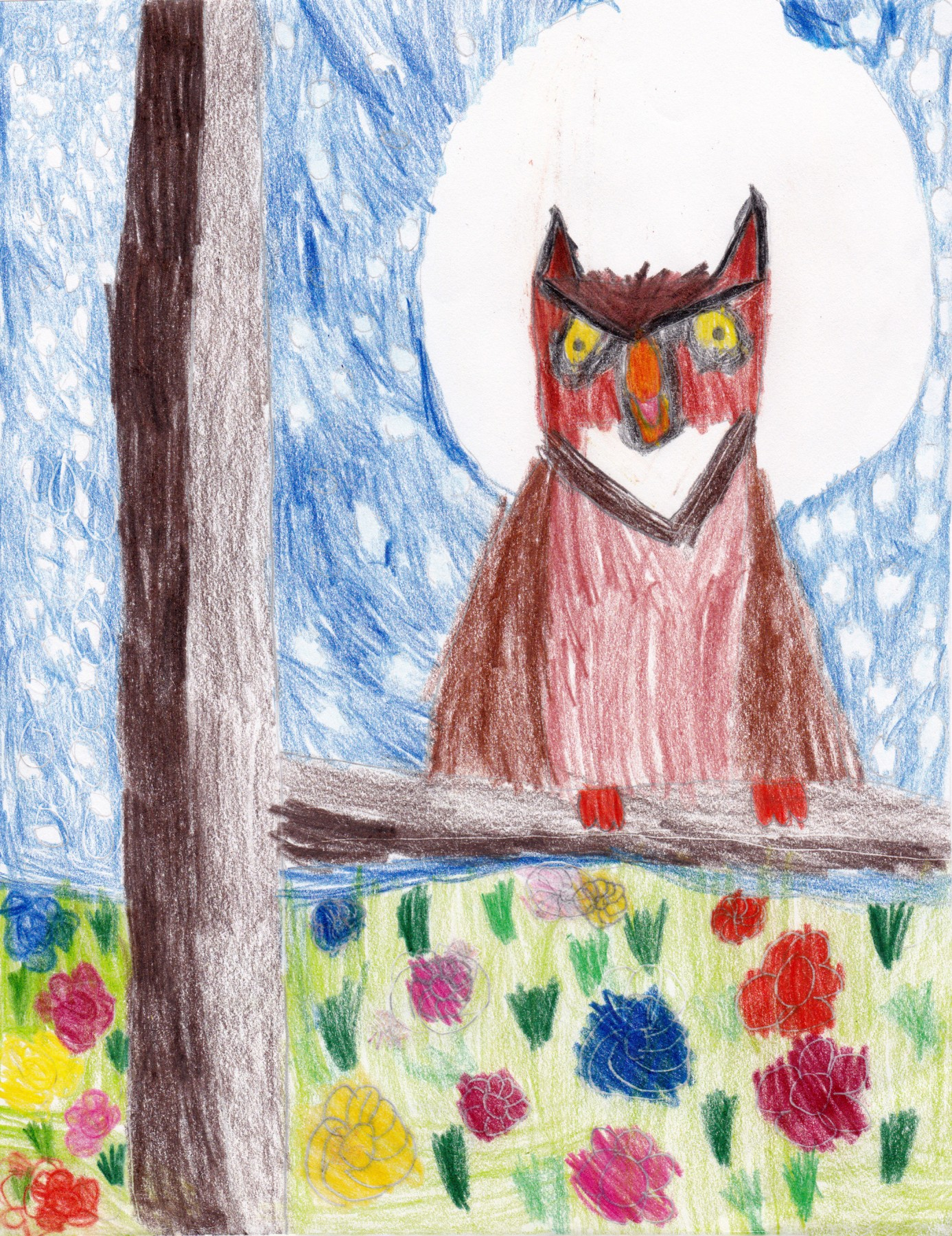 Owl in Tree with Moon Behind, by Eliska M. Crowell - Age 6